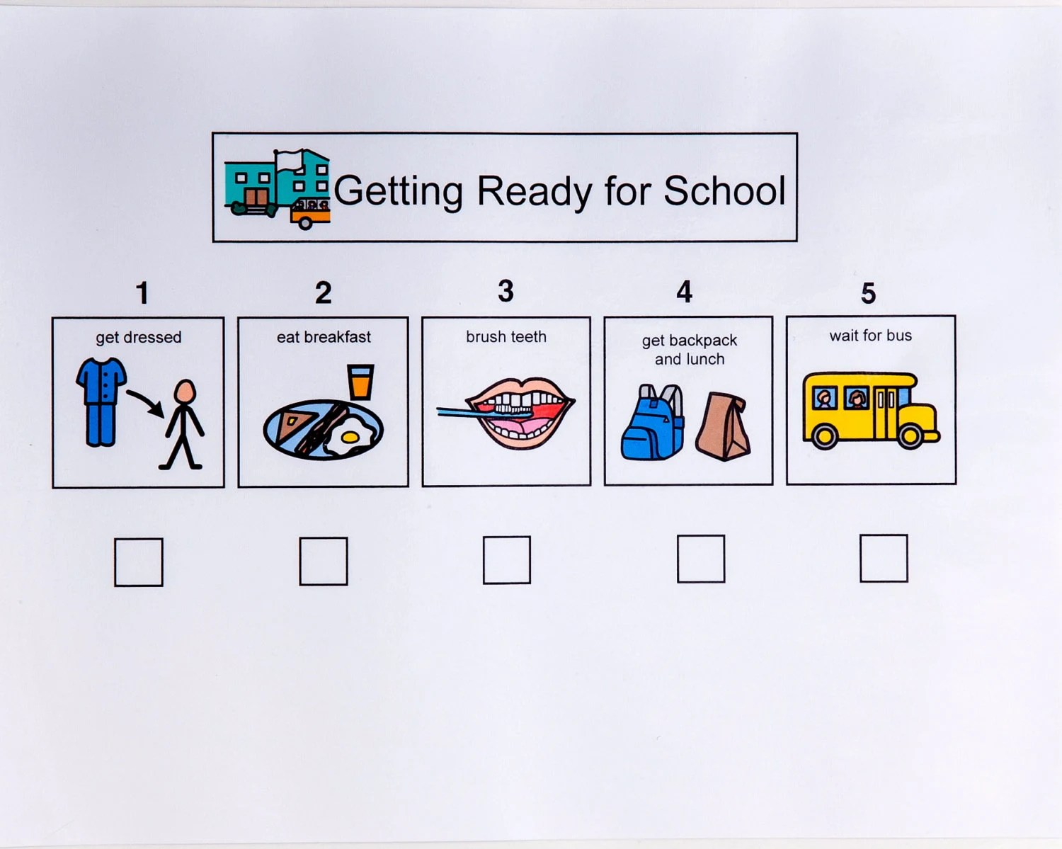 Getting Ready For School Sequence Sheet 5 Steps
