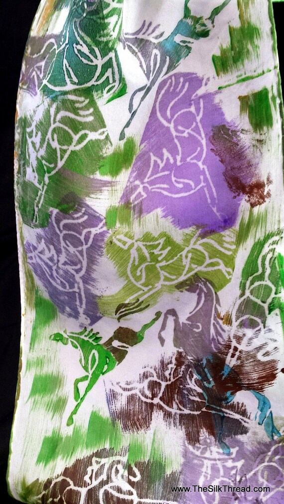 """Unusual Horse Silk Scarf, Green, Purple, Turquoise Galloping Horses, 8""""x72"""" Hand Carved Design by Artist, Equine Art, FREE ship USA BP28E"""