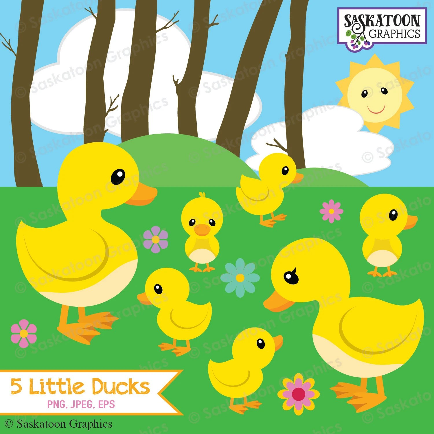 Five Little Ducks Went Out To Play Clipart Instant Download