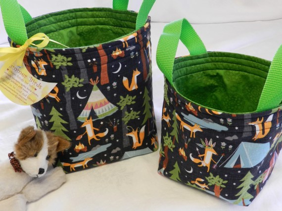 Set of 2 Woodland Fabric Baskets