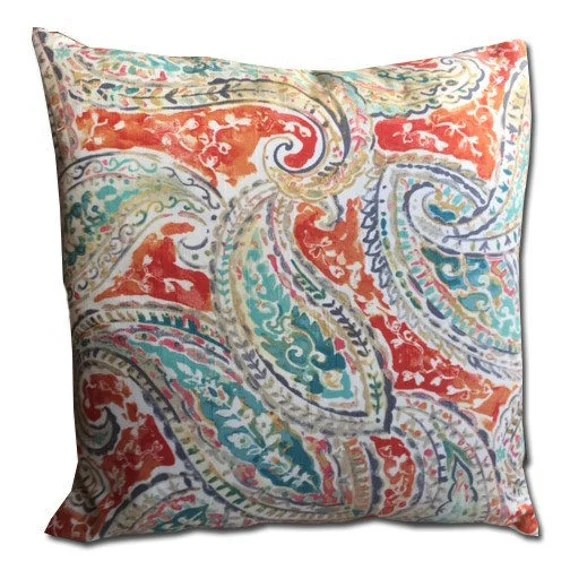 decorative pillow cover 20x20 in a fresh orange and aqua paisley pattern