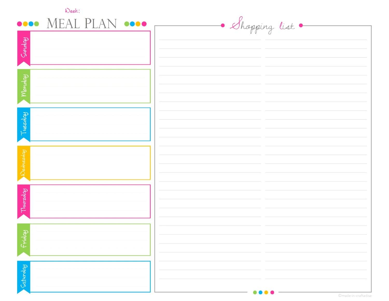 Weekly Meal Planningshopping List Planner Landscape