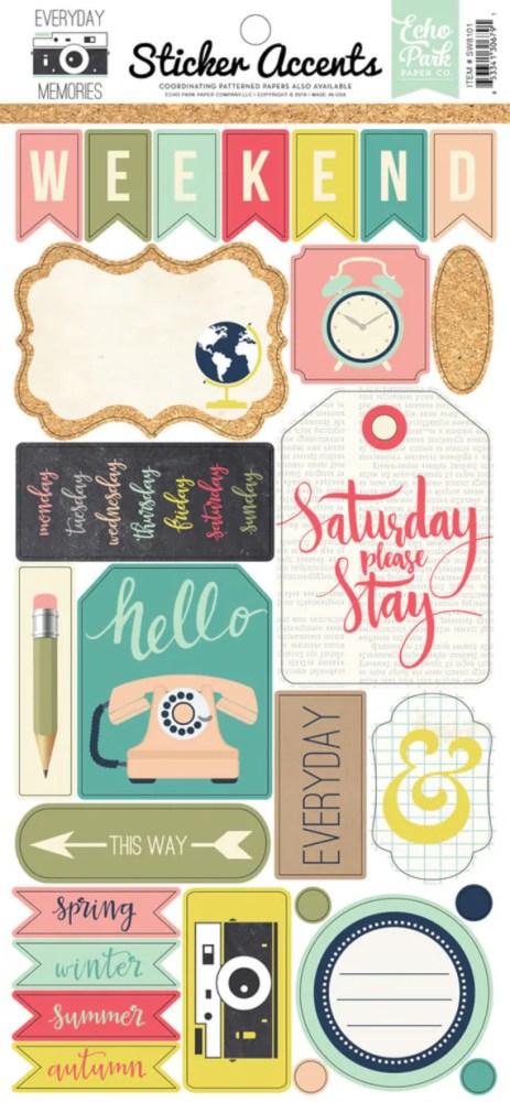 Echo Park Paper -  Everyday Memories 6x13 Planner Scrapbook Sticker Sheet