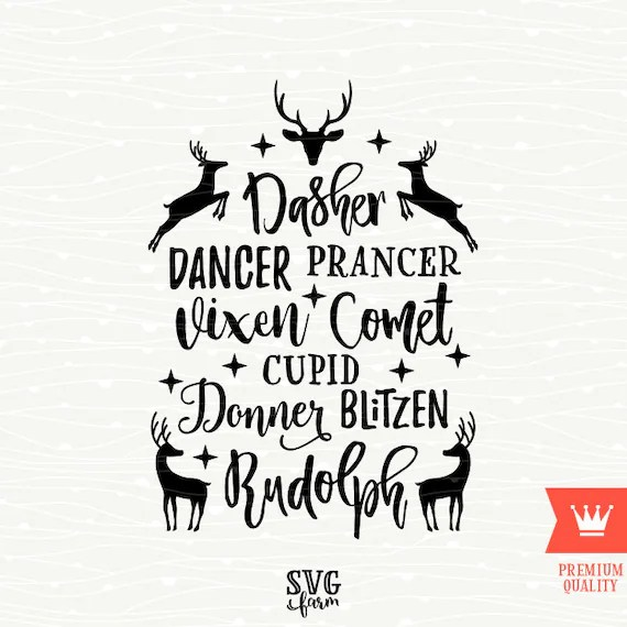 Download Reindeer Names Christmas SVG Decal Cutting File Merry