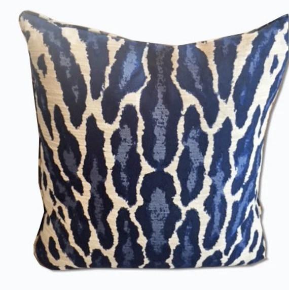 Navy animal jacquard designer pillow