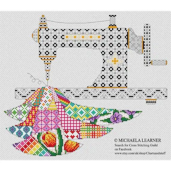 Patchwork Sewing Machine Cross Stitch Instant Download PDF