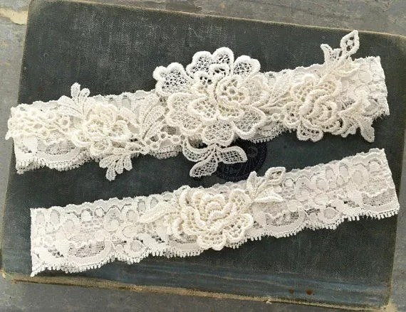 Ivory Lace Wedding Garter Set Ivory Garter Set Lace Bridal