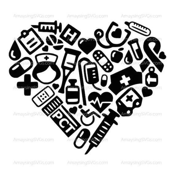 SVG PCT Medical Icon Heart Patient Care Technician