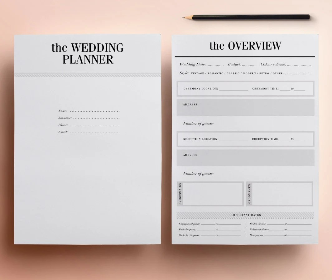 Ultimate Printable Wedding Planner Organizer Half Size