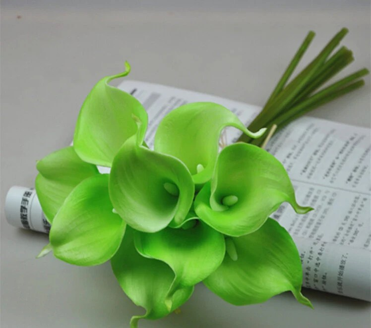 Lime Green Calla Lily Bouquet 9 Flowers Real Touch Calla