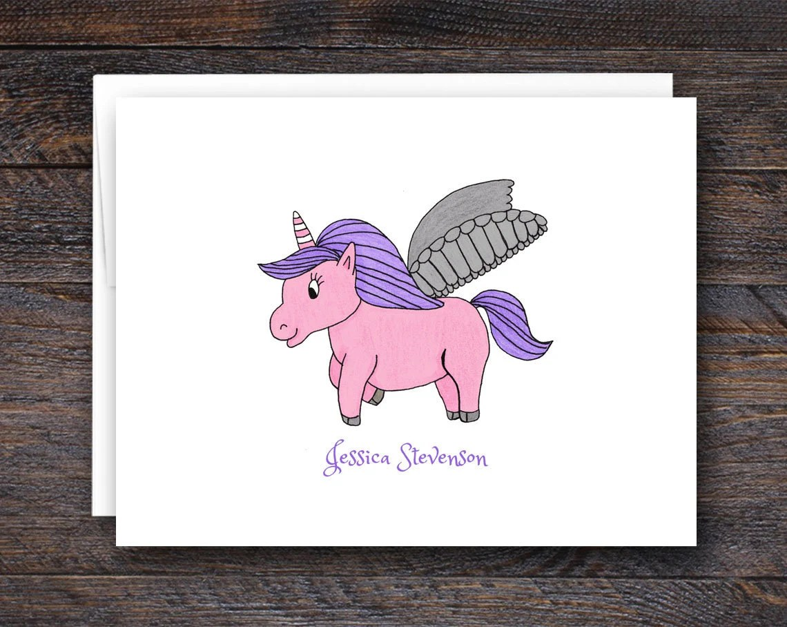 Unicorn Note Cards - Pers...