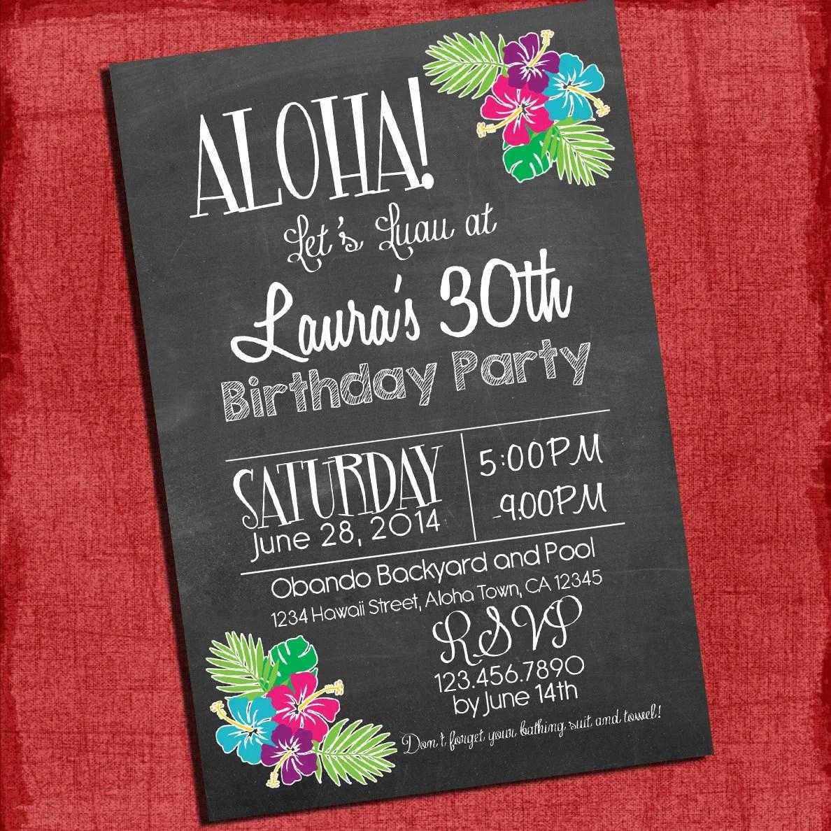 Printable Invitations Hawaiian Party