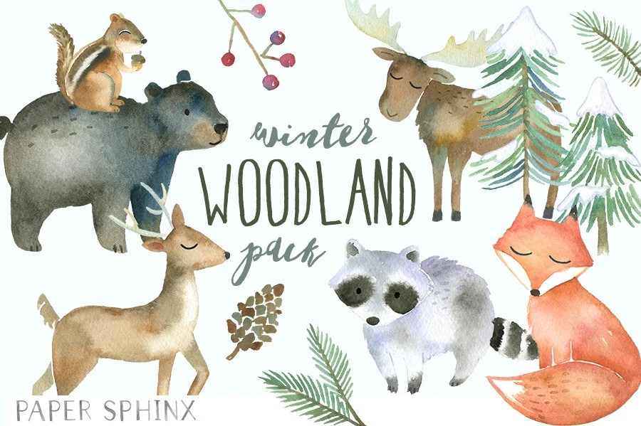 Black And White Woodland Creatures