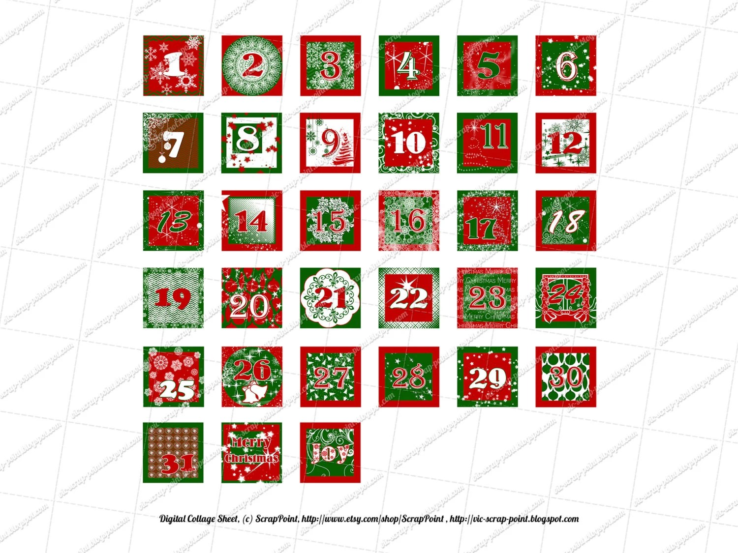 Printable December Daily Numbers 1 1 5 2 Amp 3 Inch Squares