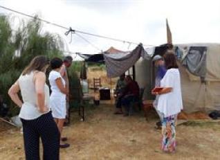Imagen de archivo de la visita a un asentamiento en Lepe.