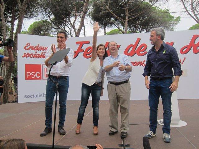 Archivo - Raquel Sánchez en 2014 en Gavà (Barcelona) junto a Pedro Sánchez, Miquel Iceta y Jaume Collboni