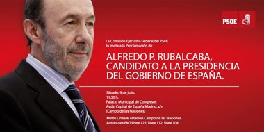"Foto: Rubalcaba se estrena como candidato del PSOE como ""Alfredo P."" sobre fondo rojo  (PSOE)"