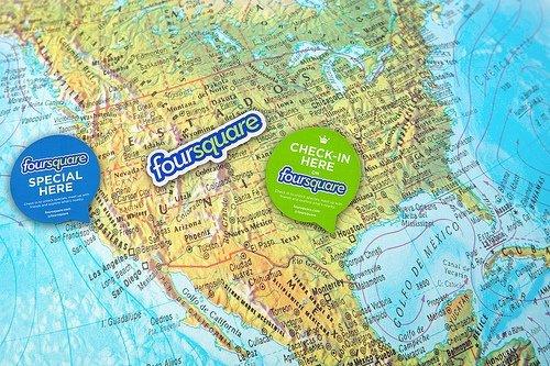 Mapa de Estados Unidos con logotipo de Foursquare