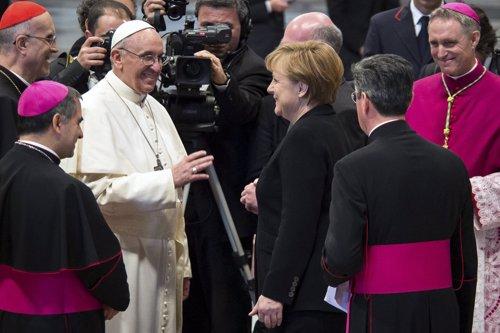 Angela Merkel y el Papa Francisco en el Vaticano