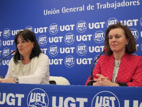 Lydia Asensio y María José Latasa, de UGT.