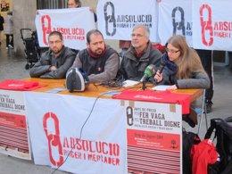 El abogado E.Cáliz, dos acusados del piquete 29M y una portavoz de Grup Soport