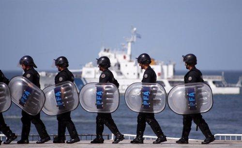 Policía en Mar del Plata (Argentina)
