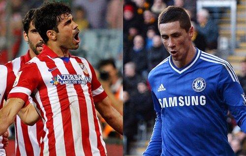 MOntaje con Diego Costa (Atlético Madrid) y Fernando Torres (Chelsea)
