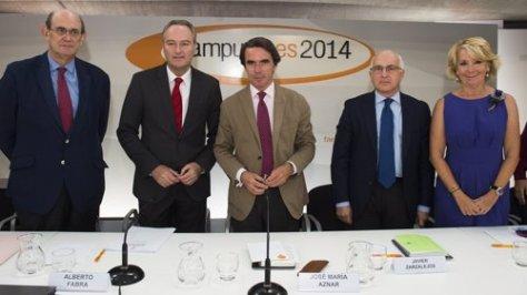 José María Aznar, Alberto Fabra y Esperanza Aguirre