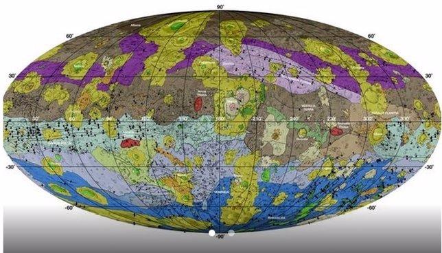 Mapa geológico de Vesta