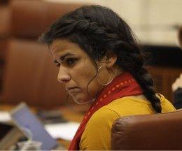 Teresa Rodríguez, en el pleno del Parlamento