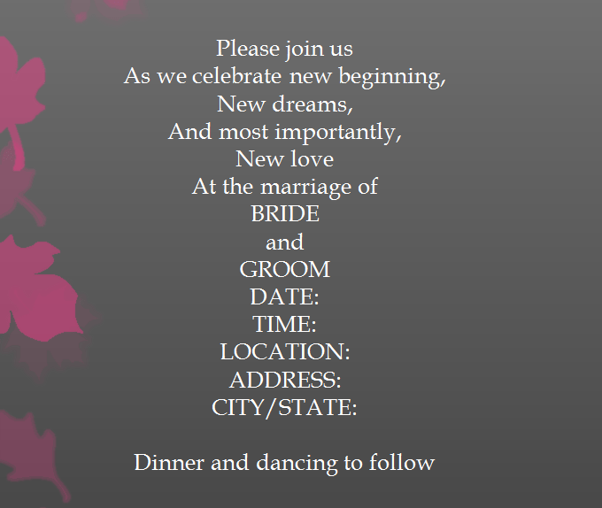 Sle 13 For Second Wedding Invitation Wording