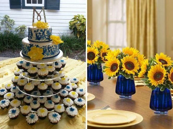 Navy Blue Yellow Wedding Details Rustic Reception