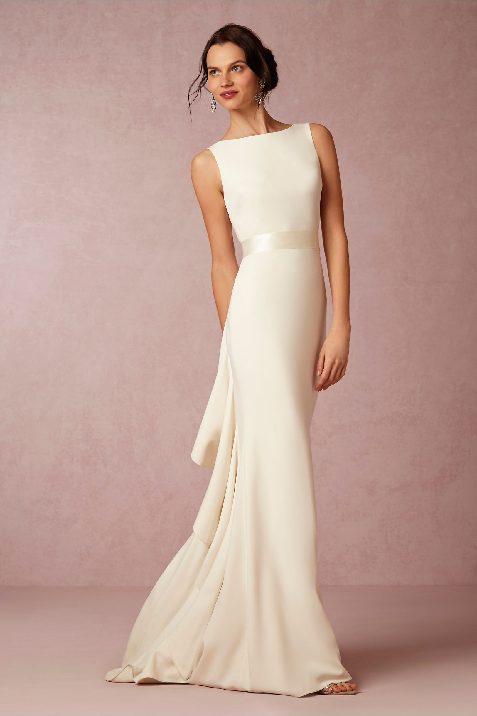 20 Best Choices of Sheath Wedding Dress   EverAfterGuide BHLDN Valentina Gown with Sheer Elegance