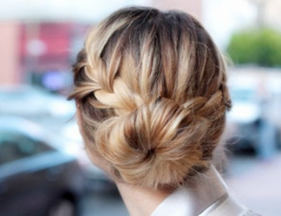 fancy braid with sock bun