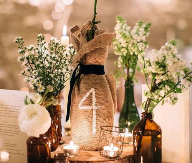 Burlap Centerpiece Table Number Its An Idea Perfect For Rustic Wedding