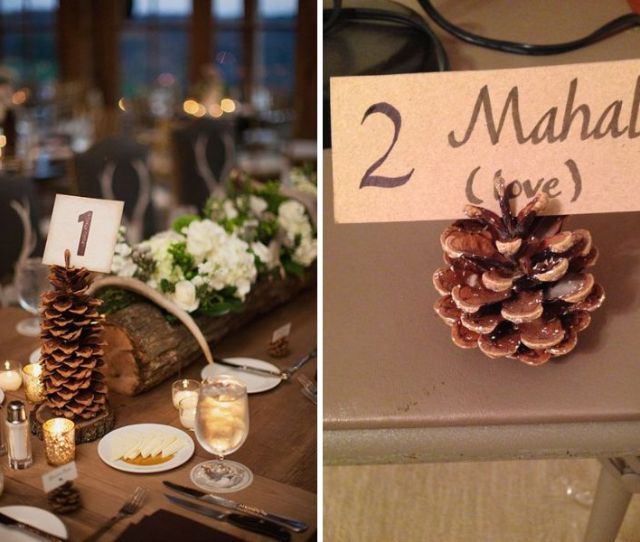 Pinecones Table Numbers For Wedding Table Number Ideas