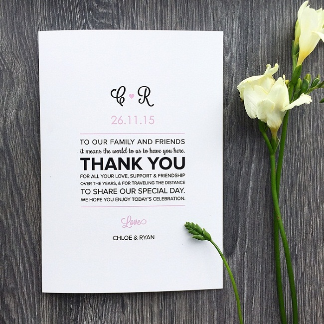 Sles For Wedding Programs Message Of Thanks