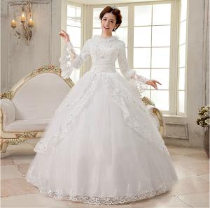 Luxurious Long sleeved White Cotton Wedding Dresses modern layered     Quality Luxurious Long sleeved White Cotton Wedding Dresses modern layered wedding  gowns for sale