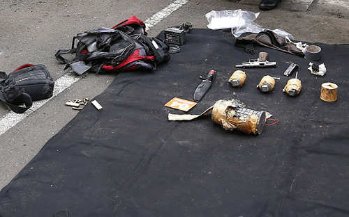 Weapons found in the terrorist's bag in Jakarta  Photo: Rex