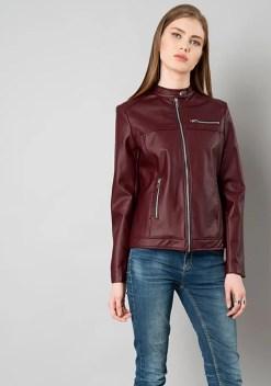Snap Neck Leather Jacket - Oxblood