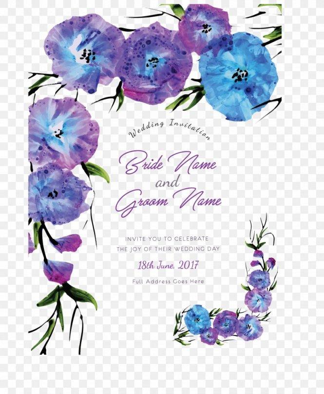 Wedding Invitation Flower Purple Blue