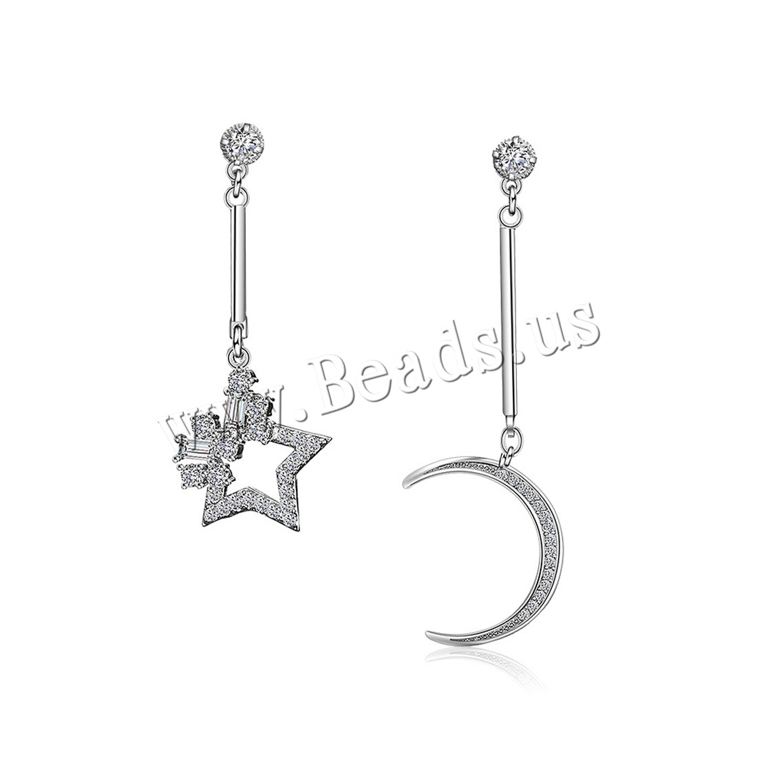 Asymmetric Earrings Brass Moon And Star Platinum Plated For Woman With Cubic Zirconia Nickel
