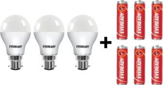 Eveready 9W LED Bulb with Free 6 Batteries(White, Pack of 3)