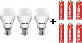 Eveready 10W LED Bulb Pack of 3 with Free 6 Batteries(White, Pack...