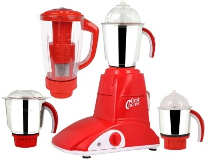 First Choice MG16-684 600 W Juicer Mixer Grinder(Red, 4 Jars)