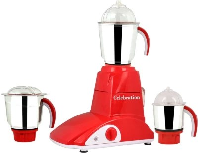 Celebration Combo Pack of 3 Jars with 1 White Blender Without Attachment free CB-189 1000 W Mixer Grinder(Red, 3 Jars)