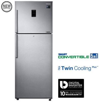 SAMSUNG 415 L Frost Free Double Door Refrigerator(RT42K5468SL, Easy Clean Steel, 2016)