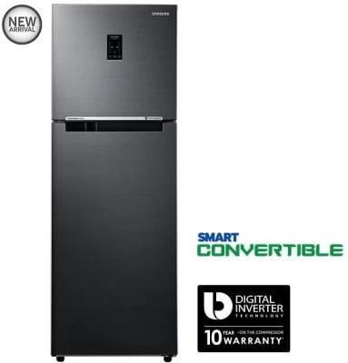 SAMSUNG 321 L Frost Free Double Door Refrigerator(RT34K3723BS/HL, Black Inox)