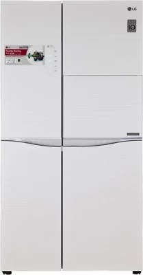 LG 675 L Frost Free Side by Side Refrigerator(GC-C237JGGV, Aria White)