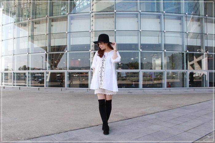 【孕婦的一日穿搭日記】淘寶刺繡短洋裝的秋冬孕婦裝穿搭~